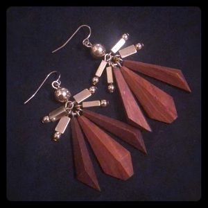 J. Crew Wood and Gold dangly earrings
